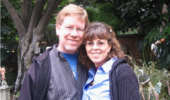 Me and my wife a few years ago in line outside the Haunted Mansion at Disneyland